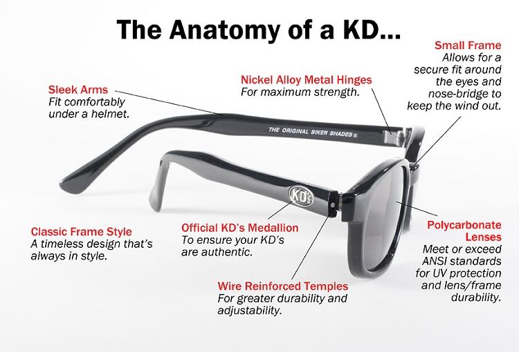 Original KD/'s Biker Sunglasses with Smoke Lenses
